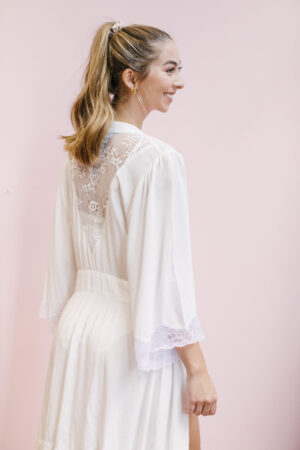 """Lacy Bell Sleeve Robe in """"I do Ivory"""""""