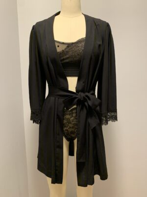 """Lacy bell sleeve robe in """"Beautifully Black"""""""